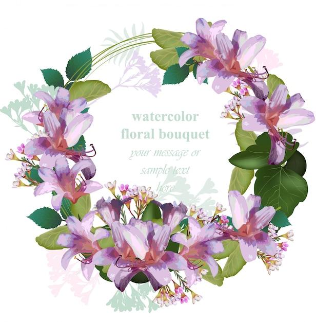 Акварельная тропическая цветочная открытка с венком. вектор vintage круглый cirlce рама тропических цветов Premium векторы