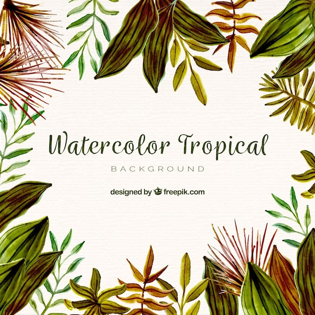 Watercolor tropical background with elegant style Free Vector