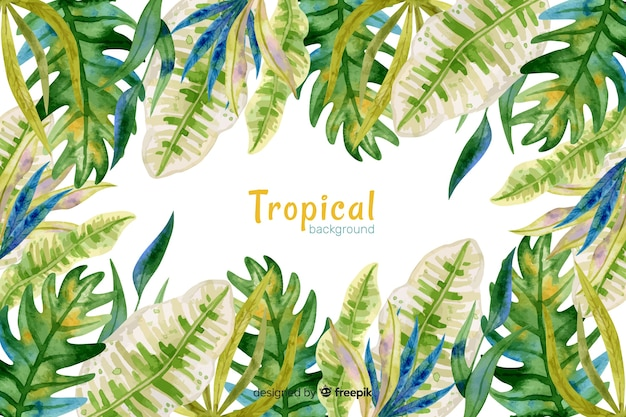 Watercolor tropical background Free Vector