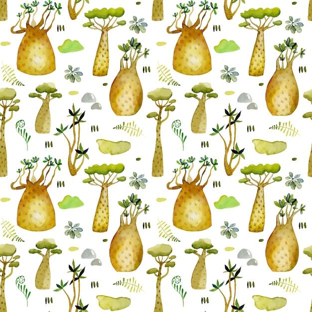 Watercolor tropical baobabs trees seamless pattern Premium Vector