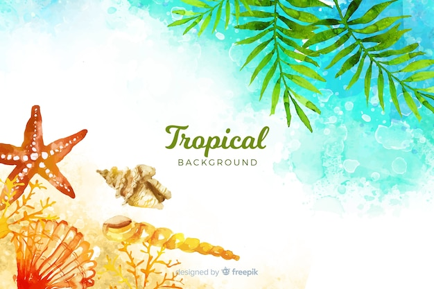 Watercolor tropical beach background Free Vector