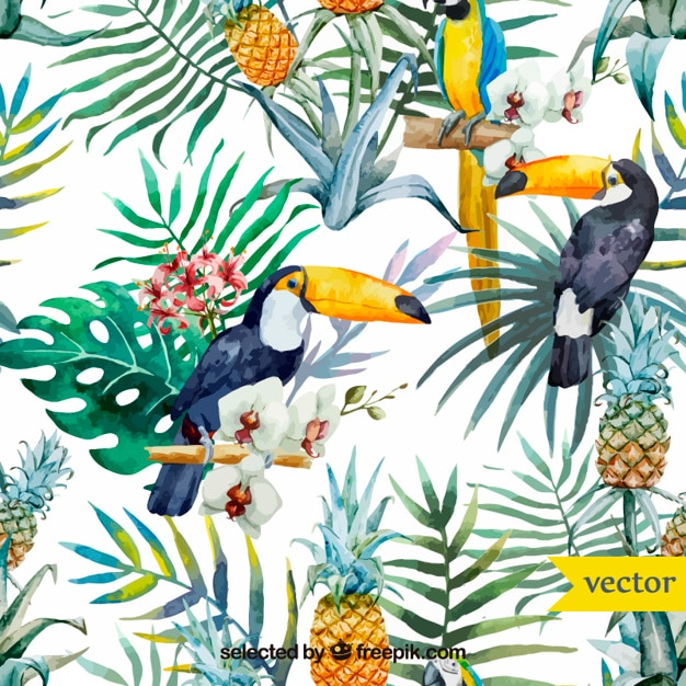 Watercolor tropical birds and plants Free Vector