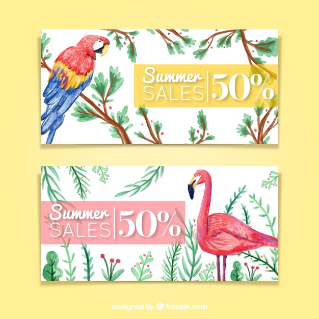 Watercolor tropical birds summer sale\ banners