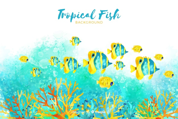 Watercolor tropical fishes background Free Vector