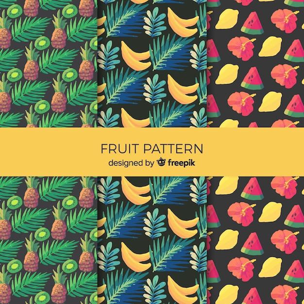 Watercolor tropical fruit pattern collection Free Vector