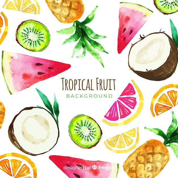 Watercolor tropical fruits background Free Vector