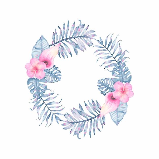 Watercolor tropical indigo floral wreath with pink calla frangipani and leaves of indigo palm monstera Free Vector