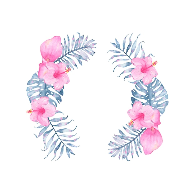 Watercolor tropical indigo floral wreath with pink calla hibiscus and leaves of indigo palm monstera Free Vector