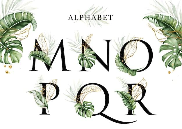 黄金の葉とmnopqrの水彩熱帯の葉アルファベットセット Premiumベクター