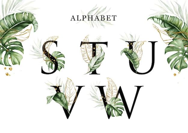 黄金の葉とstuvwの水彩熱帯の葉アルファベットセット Premiumベクター
