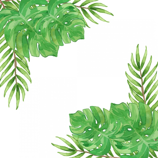 Watercolor tropical leaves frame border template Premium Vector