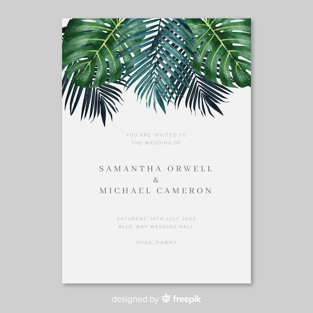 Watercolor Tropical Leaves Wedding Invitation Template Vector