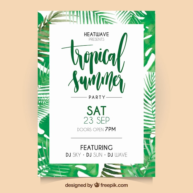 Watercolor tropical palm leaves flyer Free Vector