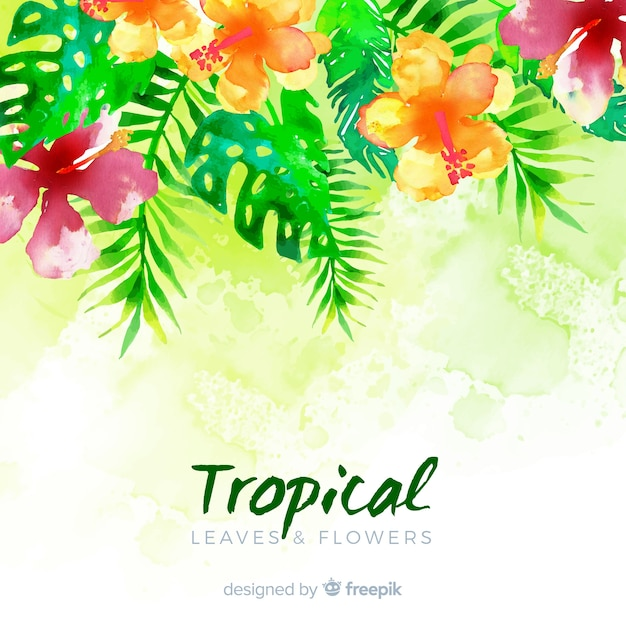 Watercolor tropical plants background Free Vector