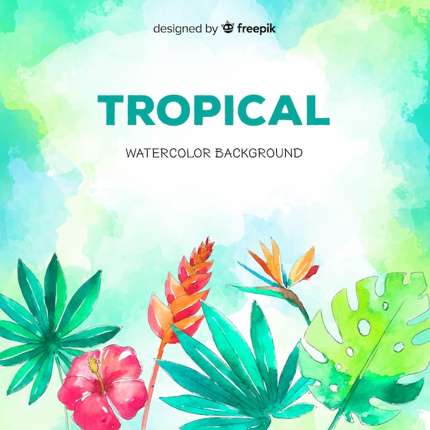 Watercolor tropical plants and bird background Free Vector