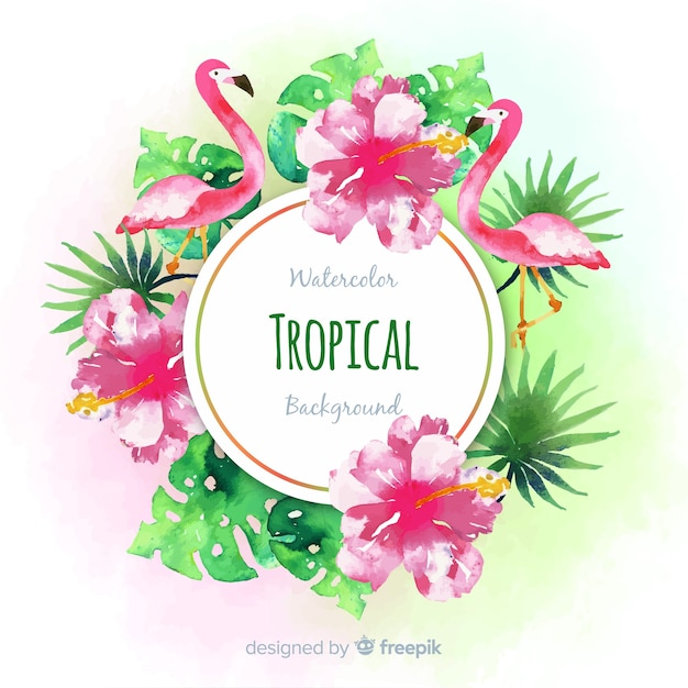 Watercolor tropical plants and flamingos background Free Vector