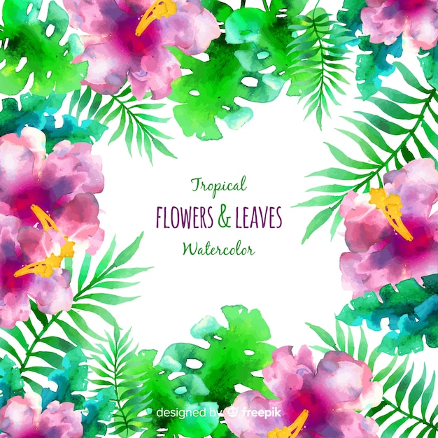 Watercolor tropical plants frame background Free Vector