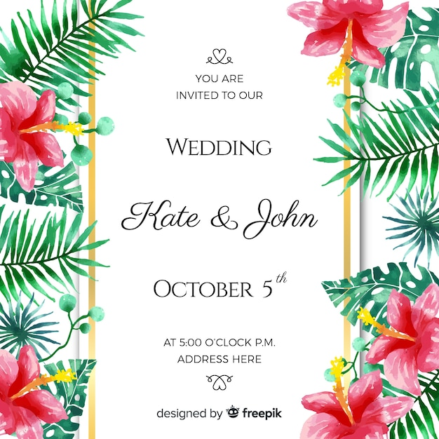 Watercolor tropical wedding invitation card Free Vector
