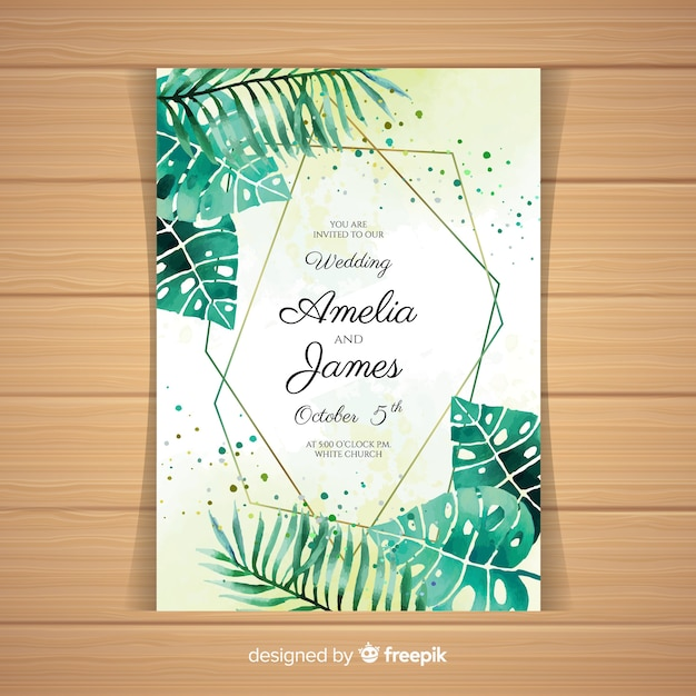 Watercolor Tropical Wedding Invitation Card Vector Free