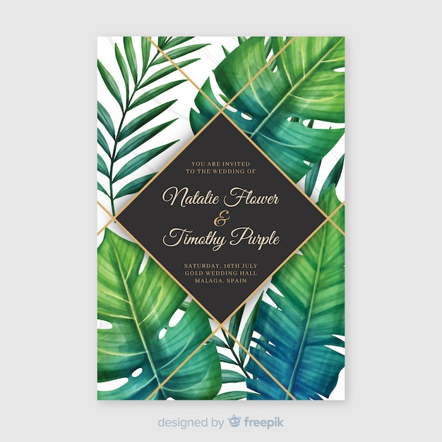 Watercolor tropical wedding invitation template Free Vector