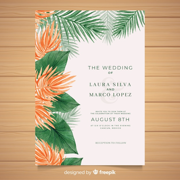 Watercolor tropical wedding invitation template Free Vector