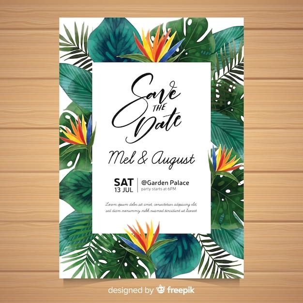 Watercolor tropical wedding invitation Free Vector