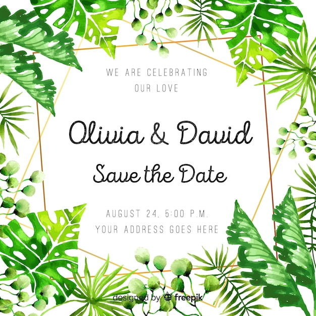 Watercolor tropical wedding invitation Free Vector