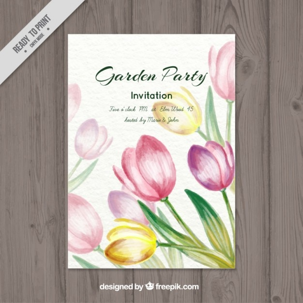 Watercolor tulips garden party card