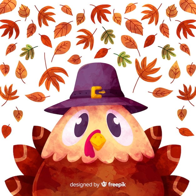Watercolor turkey thanksgiving background Free Vector
