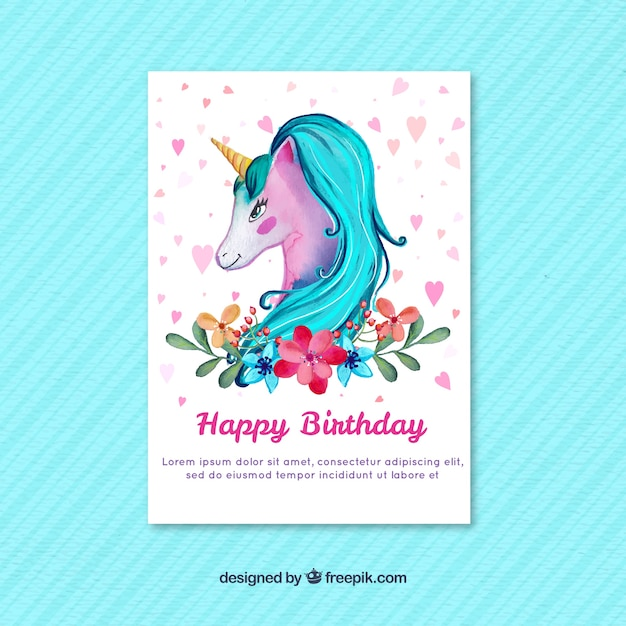 Watercolor unicorn birthday card