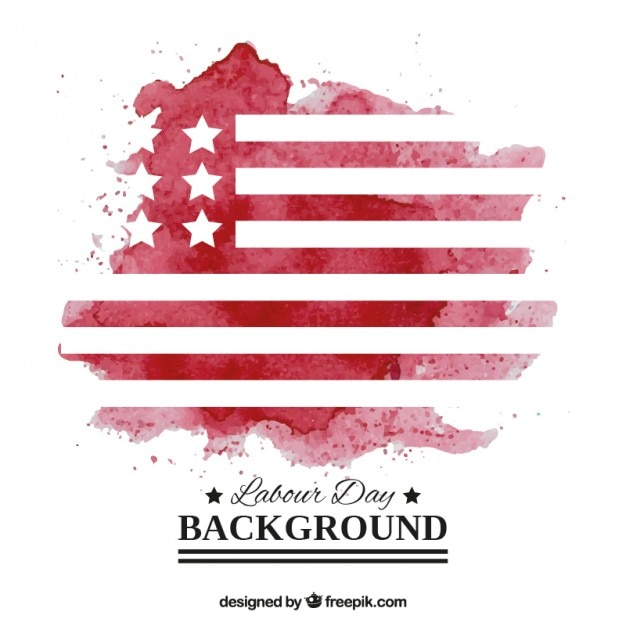 Watercolor usa flag labor day background