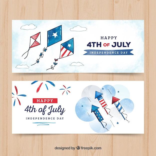 Watercolor usa independence day banners Free Vector