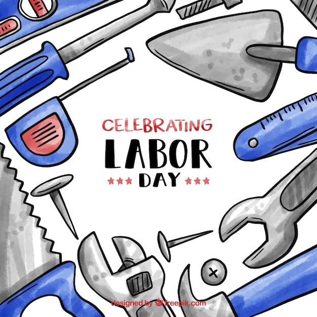 Watercolor usa labor day composition