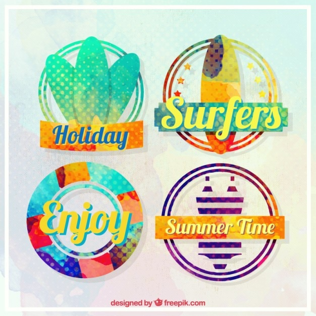 Watercolor vacations with surf badges