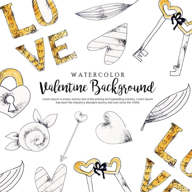 Watercolor valentine background Premium Vector