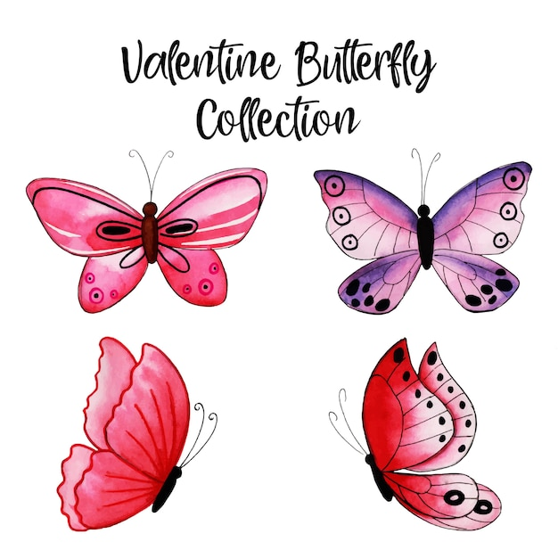 Watercolor valentine butterfly collection Premium Vector