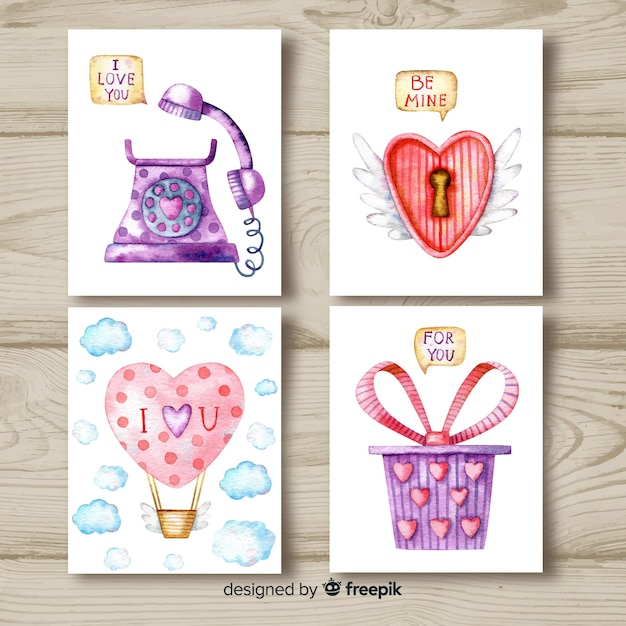 free vector  watercolor valentine card collection