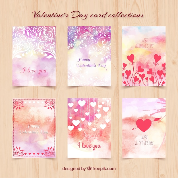 Watercolor Valentine Day Cards Vector Free Download