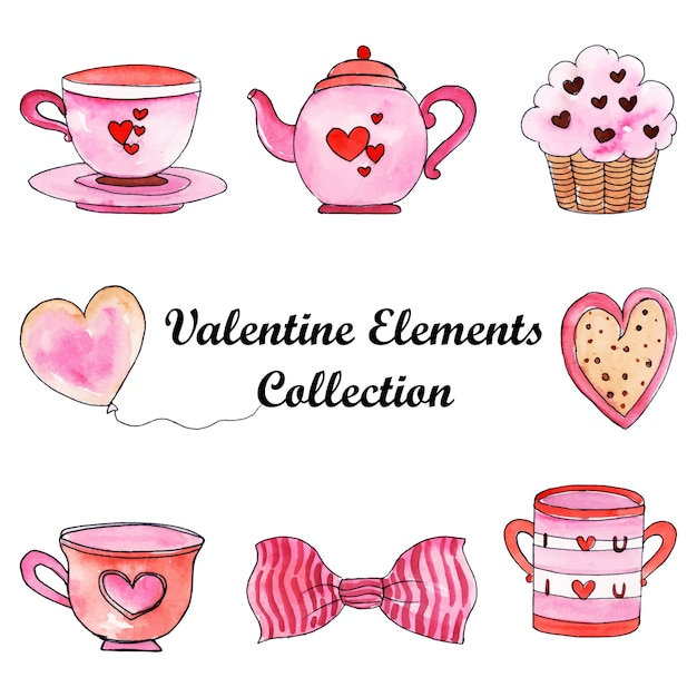 Watercolor valentine elements collection Premium Vector