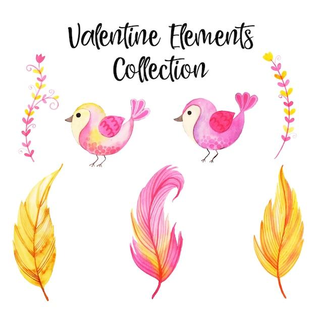 Watercolor valentine elements collection Premium Vector