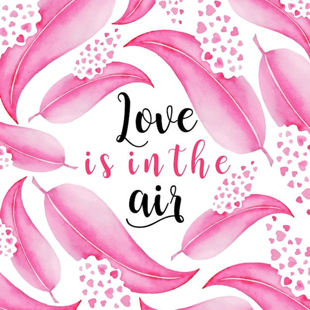 Watercolor valentine feather background Premium Vector