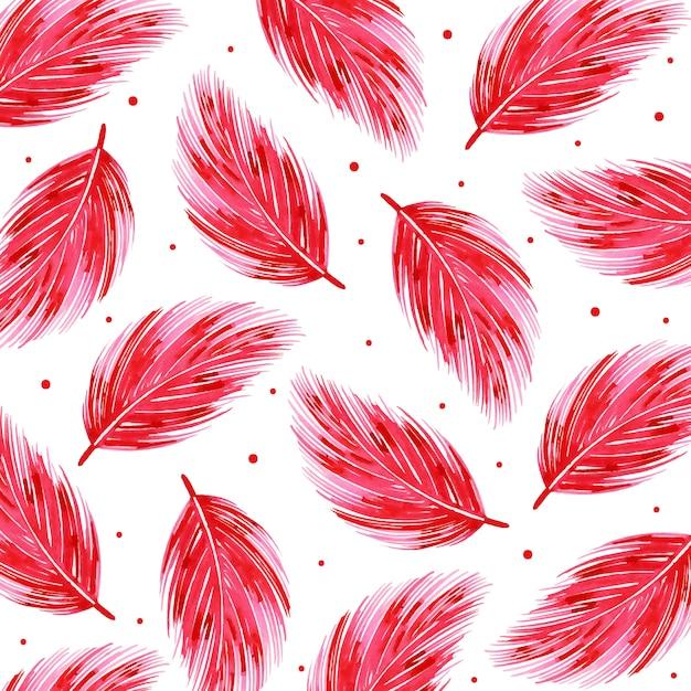 Watercolor valentine feather pattern background Premium Vector