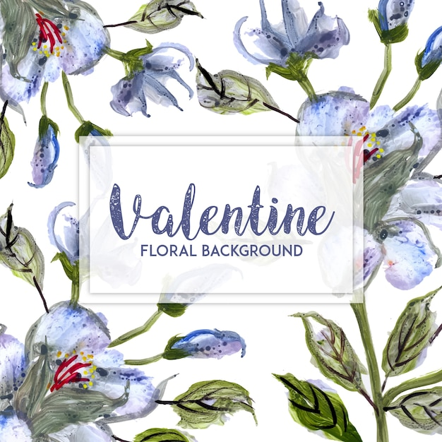 Watercolor Valentine Floral Background Free Vector