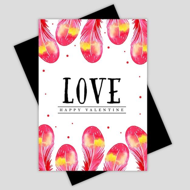 watercolor valentine floral greeting card  premium vector