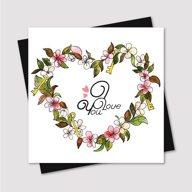 watercolor valentine greeting card  premium vector