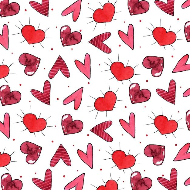 Watercolor valentine pattern background Premium Vector
