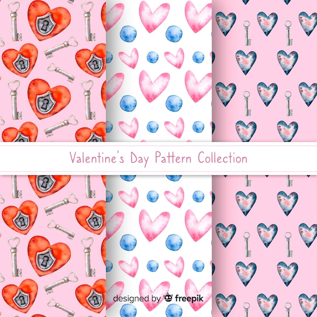 Watercolor valentine pattern collection Free Vector