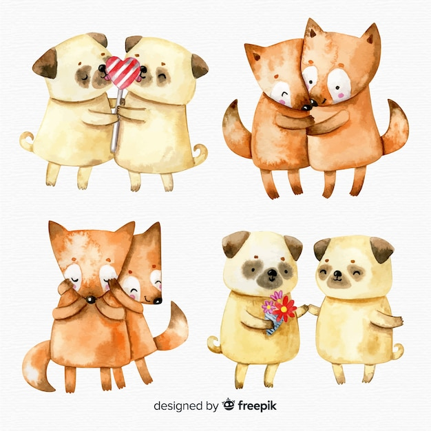 Watercolor valentine's day animal couple collection Free Vector