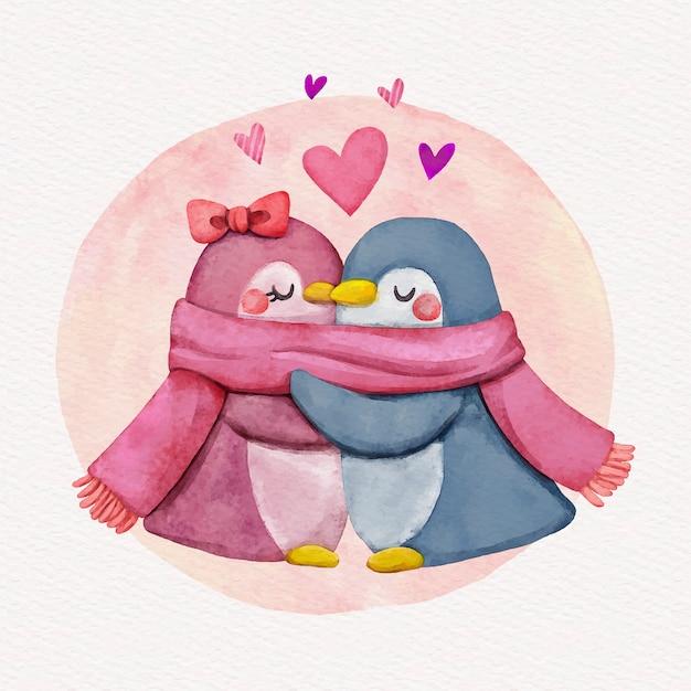Coppia di animali di san valentino dell'acquerello Vettore gratuito