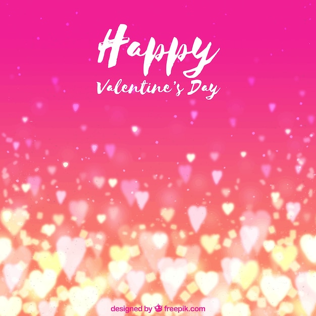 Watercolor valentine's day background with blurred hearts Free Vector